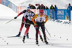 Benedikt Doll (GER), Johannes Thingnes Boe (NOR) finishing theMass Start Men 15 km at day 4 of IBU Biathlon World Cup 2019/20 Pokljuka, on January 23, 2020 in Rudno polje, Pokljuka, Pokljuka, Slovenia. Photo by Peter Podobnik / Sportida