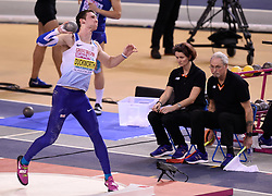 Great Britain's Tim Duckworth competing in the Men's Heptathlon shot put event during day two of the European Indoor Athletics Championships at the Emirates Arena, Glasgow.