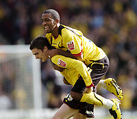 Photo: Jonathan Butler.<br /> Watford v Blackpool. Coca Cola Championship. 29/09/2007.<br /> Adam Johnson of Watford is mobbed by Lee Williamson after scoring.