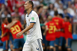 Sergei Ignashevich of Russia during the 2018 FIFA World Cup Russia round of 16 match between Spain and Russia at the Luzhniki Stadium on July 01, 2018 in Moscow, Russia