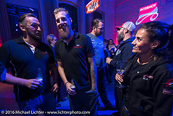 Kia Niedrich of Easyriders Magazine Germany with friends at a great evening Intermot sponsored party at the very cool New Yorker / Dock One warehouse after another day at the Intermot Motorcycle Trade Fair. Cologne, Germany. Thursday October 6, 2016. Photography ©2016 Michael Lichter.