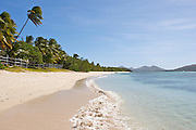 The beach at Oarsman's Bay Lodge, on Nacula Island. Nacula is part of the Yasawa Islands, on the western side of Fiji.