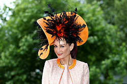 Chelsey Baker from Surrey poses for photographers during day two of Royal Ascot at Ascot Racecourse.