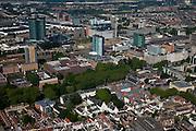 Nederland, Utrecht, Utrecht, 23-06-2010; centrum Utrecht met Hoog Catherijne en kantoren omgeving Centraal Station, onder andere de Inktktpot ProRail en nieuwe hoofdkantoor van de Rabobank (Rabo).luchtfoto (toeslag), aerial photo (additional fee required).foto/photo Siebe Swart