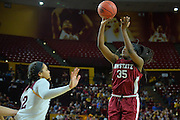 March 18, 2016; Tempe, Ariz;  New Mexico State Aggies guard Moriah Mack (35) shoots over Arizona State Sun Devils forward Kianna Ibis (42) during a game between No. 2 Arizona State Sun Devils and No. 15 New Mexico State Aggies in the first round of the 2016 NCAA Division I Women's Basketball Championship in Tempe, Ariz. The Sun Devils defeated the Aggies 74-52.