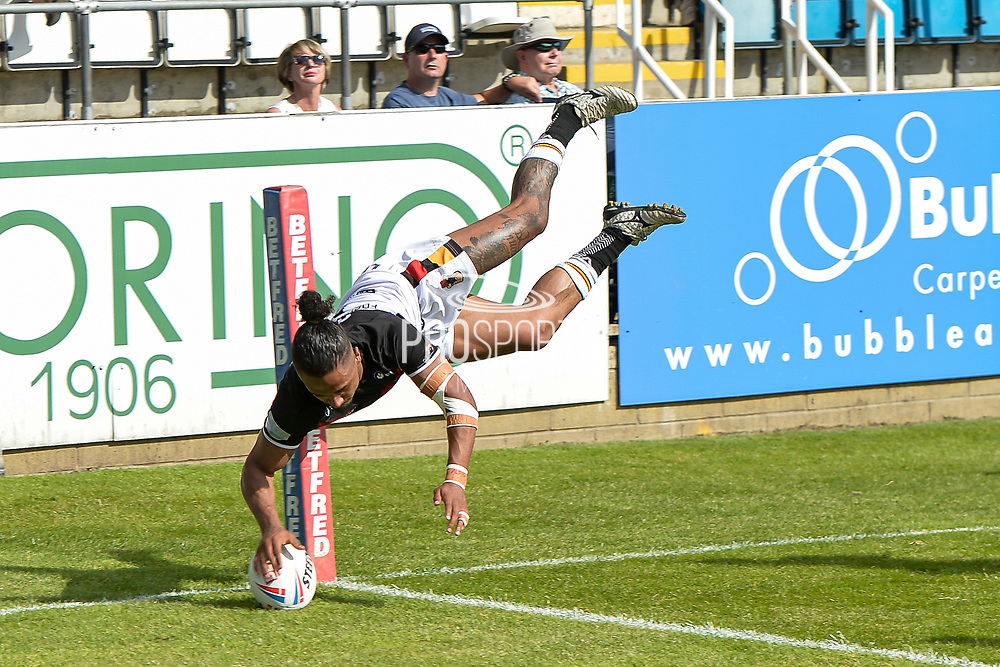 David Foggin-Johnston Disallowed try during the Betfred Championship match between Featherstone Rovers and Bradford Bulls at the Big Fellas Stadium, Featherstone, United Kingdom on 13 June 2021.