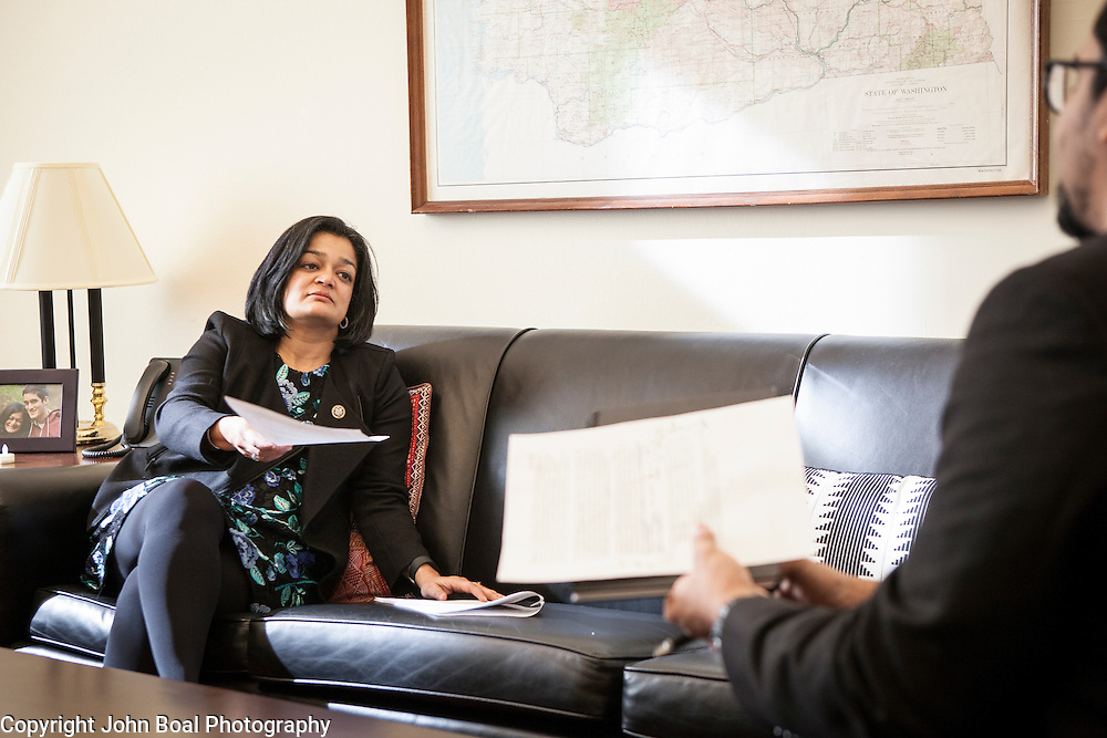 Representative Pramila Jayapal (D-WA, 7) on Tuesday, January 31, 2017.  John Boal photo/for The StrangerRepresentative Pramila Jayapal (D-WA, 7) meets in her Congressional office, with her Communications Director, Omer Farooque, on Tuesday, January 31, 2017.  Much of the day was spent discussing the executive order restricting entry into the United States from 7 Muslim-majority countries.  John Boal photo/for The Stranger