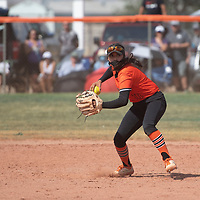Gallup Bengals shortstop Savannah Watson fields a ground ball during their NMAA Baseball State Championship semifinal game against the Miyamura Patriots Thursday in Gallup.
