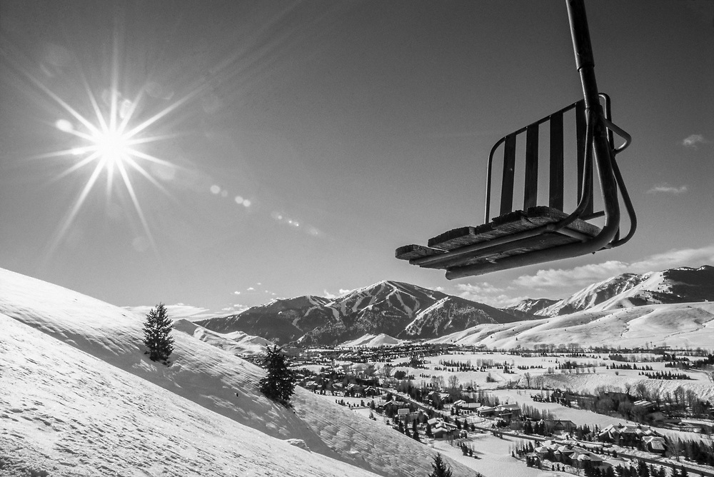 North America's First Chairlift on Ruud Mountain in Sun Valley, Idaho. Licensing Available - Rights Managed. Edition of 48 includes all sizes. Black & White
