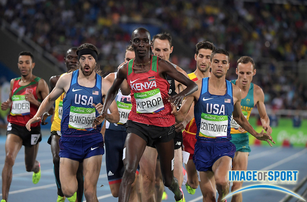 Aug 20, 2016; Rio de Janeiro, Brazil; Ben Blankenship (USA), Asbel Kiprop (KEN) and Matthew Centrowitz (USA) lead the 1,500m during the 2016 Rio Olympics at Estadio Olimpico Joao Havelange. <br /> <br /> *