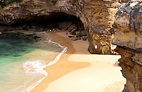 Secluded beach near the magnificent rock formations of London Bridge along the Great Ocean Road in Victoria, Australia.