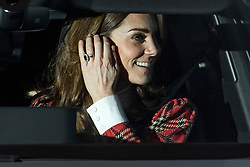 © Licensed to London News Pictures. 18/12/2019. London, UK. CATHERINE DUCHESS OF CAMBRIDGE . Members of the Royal Family seen leaving Buckingham Palace in West London after attending the Queen's annual Christmas lunch. Photo credit: Ben Cawthra/LNP