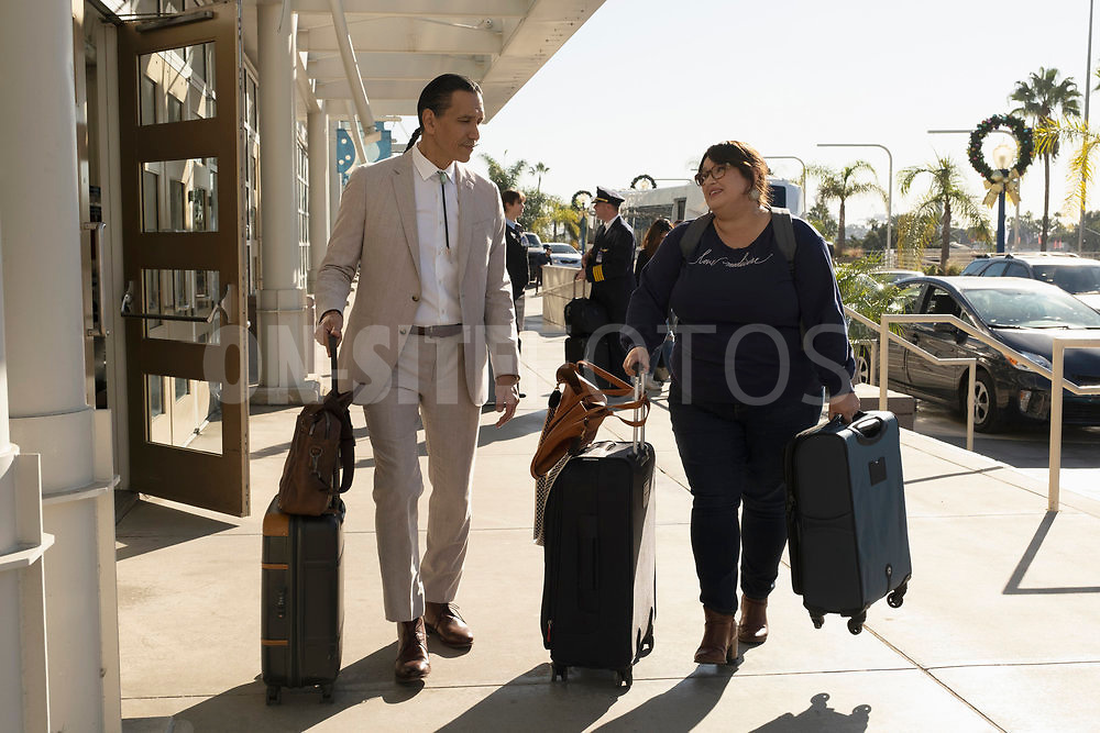 """RUTHERFORD FALLS -- """"Skoden"""" Episode 108 -- Pictured: (l-r) Michael Greyeyes as Terry Thomas, Jana Schmieding as Reagan Wells -- (Photo by: Colleen Hayes/Peacock)"""