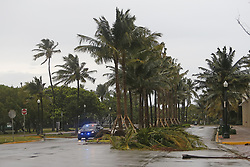 Miami Beach Police on patrol at South Pointe Park as the outer bands of Hurricane Irma reach South Florida early on Saturday, September 9, 2017. Photo by David Santiago/El Nuevo Herald/TNS/ABACAPRESS.COM