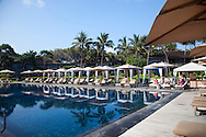 The Four Seasons Resort Hualalai at Historic Kaupulehu on the Big Island of Hawaii. The Cabana lined Beach Tree Pool.