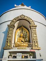 World Peace Stupa overlooking Phewa Lake in Pokhara, Nepal.