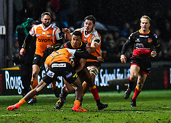 Dragons' Ashton Hewitt is tackled by Cheetahs' Sibhale Maxwane<br /> <br /> Photographer Craig Thomas/Replay Images<br /> <br /> Guinness PRO14 Round 18 - Dragons v Cheetahs - Friday 23rd March 2018 - Rodney Parade - Newport<br /> <br /> World Copyright © Replay Images . All rights reserved. info@replayimages.co.uk - http://replayimages.co.uk