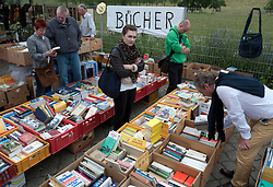 Book stall at weekend market at Mauer Park in Prenzlauer Berg Berlin