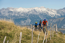 three mountain bikers on the way uphill, Matajur, Istria, Slovenia