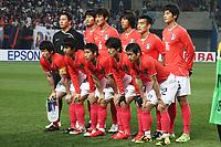 Fotball<br /> Sør Korea<br /> Foto: imago/Digitalsport<br /> NORWAY ONLY<br /> <br /> 01.04.2009  <br /> Mannschaftsbild Südkorea, hi.v.li.: Torwart Woon Jae Lee, Min Soo Kang, Jae Won Hwang, Chu Young Park, Won Hee Cho, Sung Yueng Ki; vorn: Ji Sung Park, Beom Seok Oh, Keun Ho Lee, Chung Yong Lee und Young Pyo Lee<br /> <br /> Lagbilde Sør Korea