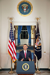 President Barack Obama delivers an address to the nation on the U.S. counterterrorism strategy to combat the terrorist group ISIL in Iraq and Syria, in the Cross Hall of the White House, Sept. 10, 2014. (Official White House Photo by Chuck Kennedy)<br /> <br /> This official White House photograph is being made available only for publication by news organizations and/or for personal use printing by the subject(s) of the photograph. The photograph may not be manipulated in any way and may not be used in commercial or political materials, advertisements, emails, products, promotions that in any way suggests approval or endorsement of the President, the First Family, or the White House.