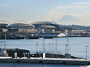 stadiums, Mount Rainier, downtown Seattle, Washington, USA.