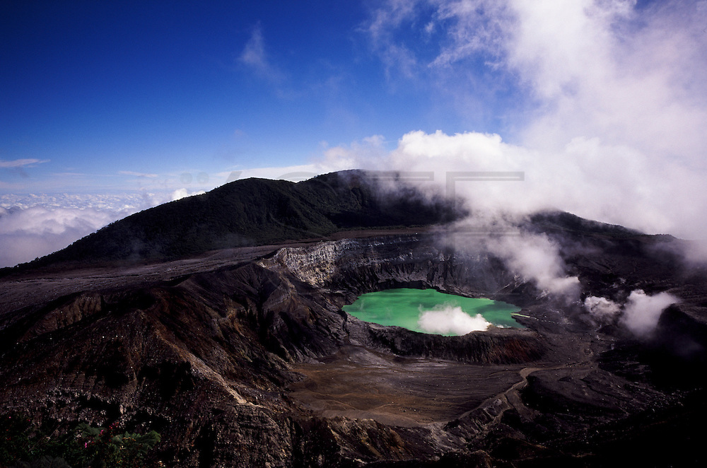 The crater of Poás Volcano is easily accessible to tourists