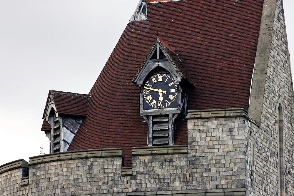 Clockface on Windsor Castle, Berkshire, United Kingdom.