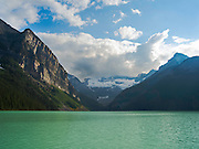 Beautiful Lake Louise in the late afternoon after a rainstorm; Banff National Park, Alberta, Canada