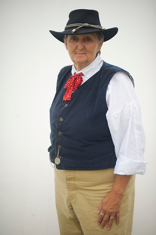 Jennifer Haines, a member of staff of the headquarters of the Army of Northern Virginia, in camp the first morning of the four day Gettysburg Anniversary Committee reenactment in Gettysburg, PA on July 4, 2013.