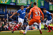 Portsmouth Defender, Nathan Thompson (20) takes on Northampton Town Midfielder, Lewis McGugan (37) during the EFL Sky Bet League 1 match between Portsmouth and Northampton Town at Fratton Park, Portsmouth, England on 30 December 2017. Photo by Adam Rivers.