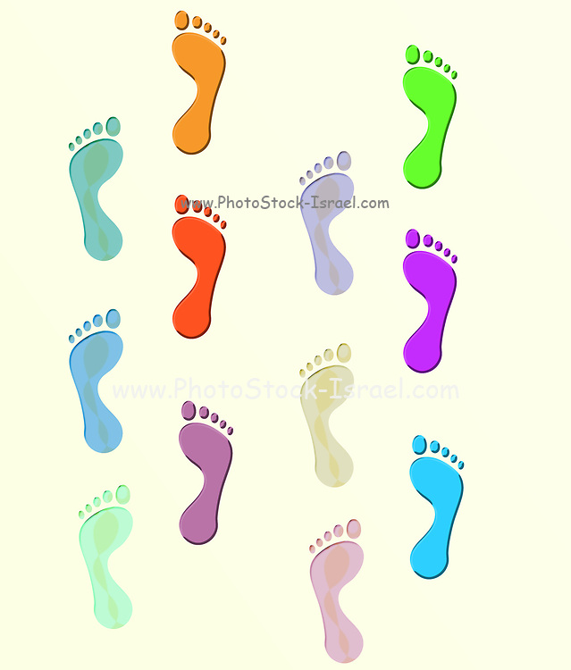 Digitally painted image of two colourful sets of footprints. A concept for togetherness