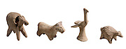 four Terracotta animal figurines 2000 BCE from left to right Donkey, Horse, bird and hedgehog