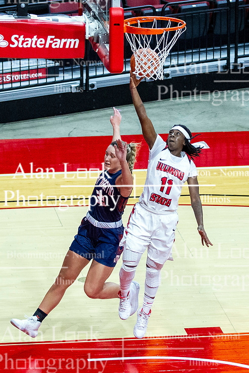 NORMAL, IL - November 30: Tete Maggett defended by Demi Burdick on a run and gun during a college women's basketball game between the ISU Redbirds and the Skyhawks of UT-Martin November 30 2019 at Redbird Arena in Normal, IL. (Photo by Alan Look)