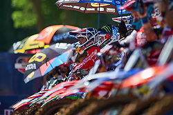 July 7, 2018 - Buchanan, MI, U.S. - BUCHANAN, MI - JULY 07: A detailed view of all the riders of all the MX bikes at the starting line of the 250 Class Moto #2 in action during the 2018 Red Bull RedBud National races on July 7, 2018 at RedBud MX Tack in Buchanan, Michigan. (Photo by Robin Alam/Icon Sportswire) (Credit Image: © Robin Alam/Icon SMI via ZUMA Press)
