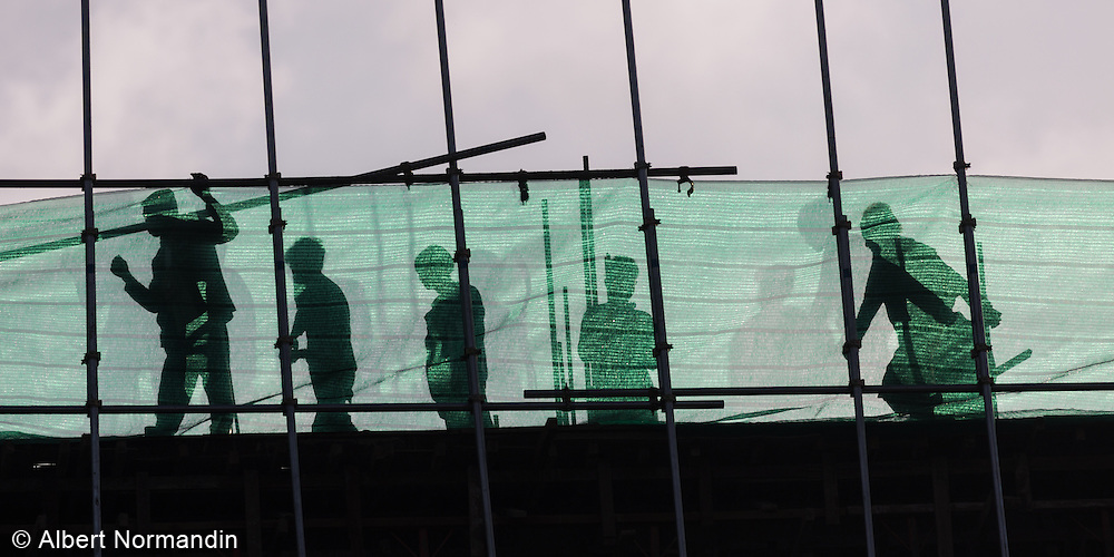 Construction workers at job sites, in the new capital, Nay Pyi Taw, Myanmar