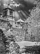 San Antonio Mission in Black and white