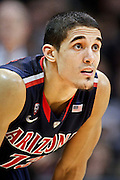 SHOT 2/14/13 10:31:38 PM - Arizona's Nick Johnson #13 during a break in the action against Colorado during their regular season Pac-12 basketball game at the Coors Event Center on the Colorado campus in Boulder, Co. Colorado won the game 71-58. (Photo by Marc Piscotty / © 2013)