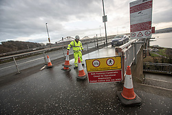 Pics of the closed Forth Road Bridge from the north, Fife side at North Queensferry. Pic of the closed north bound pedestrian side.
