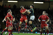 Rhys Priestland of Wales jumps for a high ball with South Africa's Willie Le Roux.Autumn International rugby, 2013 Dove men series, Wales v South Africa at the Millennium Stadium in Cardiff,  South Wales on Saturday 9th November 2013. pic by Andrew Orchard, Andrew Orchard sports photography,