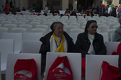 """Nuns attend a ceremony at the Chapel of our Lady of Santa Cruz in Algeria's northern city of Oran, during which seven French monks and 12 other clergy, killed in Tibhirine (or Tibehirine) during the country's civil war in March 1996, were beatified, on December 8, 2018. Papal envoy Cardinal Angelo Becciu read the official decree stating that the 19 men and women would """"from now on be called blessed"""" at an event in the coastal city, the first ceremony of its kind in a Muslim nation. The 19 Roman Catholic clergy were killed between 1994 and 1996 as Algeria was in the grips of a decade-long civil war between government forces and Islamists that left up to 200,000 people dead. Photo by Louiza Ammi/ABACAPRESS.COM"""