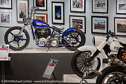 Tom Keefer's retro-rigid custom 1944 Knucklehead in the More Mettle - Motorcycles and Art That Never Quit exhibition in the Buffalo Chip Events Center Gallery during the Sturgis Motorcycle Rally. SD, USA. Thursday, August 12, 2021. Photography ©2021 Michael Lichter.