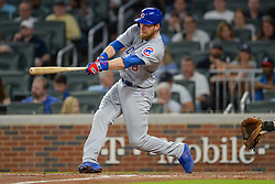 May 15, 2018 - Atlanta, GA, U.S. - ATLANTA, GA Ð MAY 15:  Cubs outfielder Ben Zobrist (18) drives a ball to the outfield during the game between Atlanta and Chicago on May 15th, 2018 at SunTrust Park in Atlanta, GA. The Chicago Cubs beat the Atlanta Braves by a score of 3 Ð 2.  (Photo by Rich von Biberstein/Icon Sportswire) (Credit Image: © Rich Von Biberstein/Icon SMI via ZUMA Press)