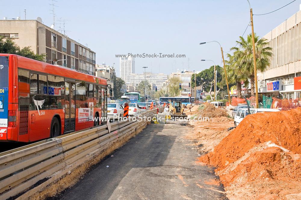 Israel Tel Aviv, Road works and infrastructure replacement in Ibn Gvirol street