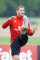 CARDIFF, WALES - Saturday, June 4, 2016: Wales' Sam Vokes during a training session at the Vale Resort Hotel ahead of the International Friendly match against Sweden. (Pic by David Rawcliffe/Propaganda)