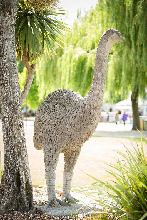 View of a moa sculpture, an extinct flightless bird species, Queenstown, South Island, New Zealand