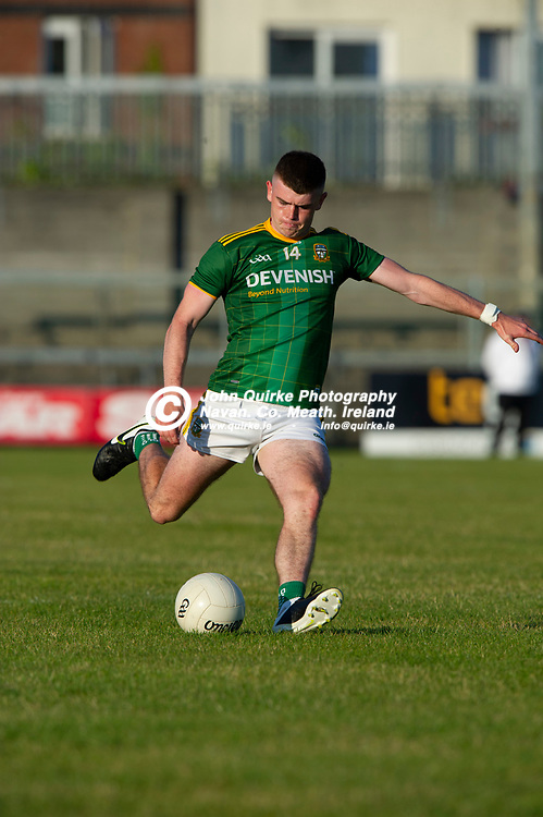 30-06-21. Meath v Offaly - Leinster MFC Final 2020 at TEG Cusack Park, Mullingar.<br /> Eoghan Frayne, Meath in action against Offaly.<br /> Photo: John Quirke / www.quirke.ie<br /> ©John Quirke Photography, 16 Proudstown Road, Navan. Co. Meath. (info@quirke.ie / 046-9028461 / 087-2579454).