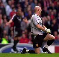Photo. Richard Lane<br />Manchester United v Real Madrid. UEFA Champions League. 23/04/2003<br />Ronaldo celebrates while Fabien Barthez is left helpless.