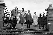 Princess Margaret on holidays in Ireland, pictured at Abbeyleix House with her husband, Lord Snowdon (left) and her hosts, Viscount and Viscountess de Vesci. .17.08.1962