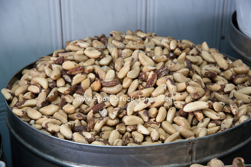 A pile of freshly roasted and shelled Brazil nuts
